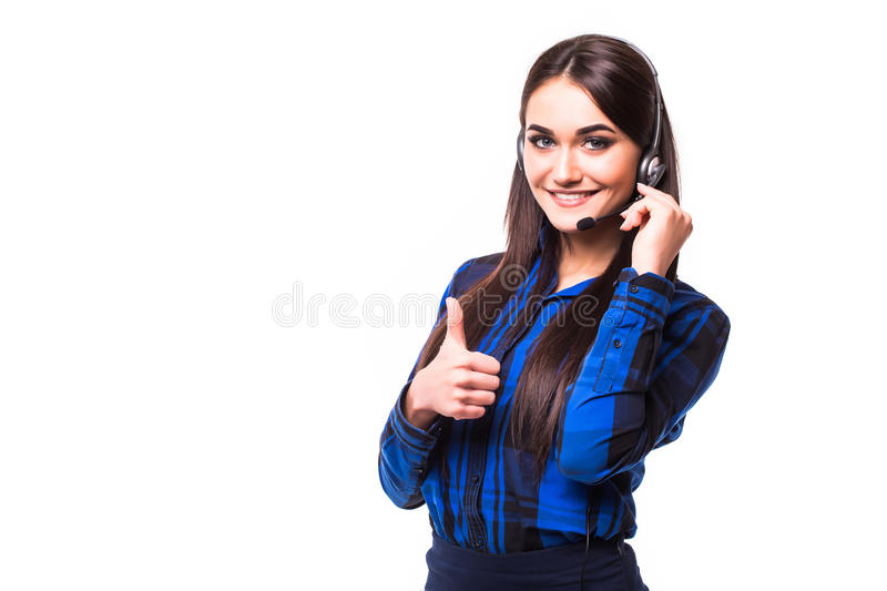 Portrait of happy smiling cheerful customer support phone operator in headset showing thumbs up gesture, isolated on white backgro. Portrait of happy smiling royalty free stock images