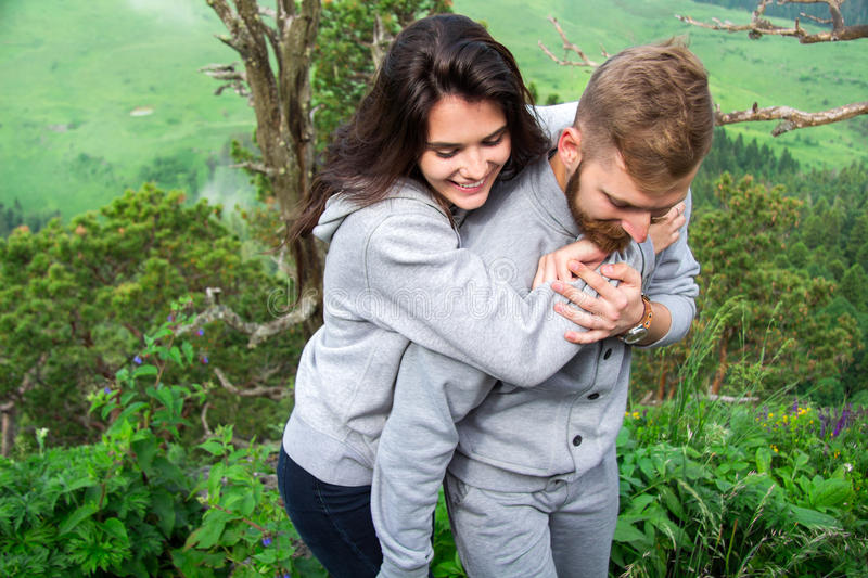 Portrait Happy Smiling Couple in love, beautiful couple embraces royalty free stock photo