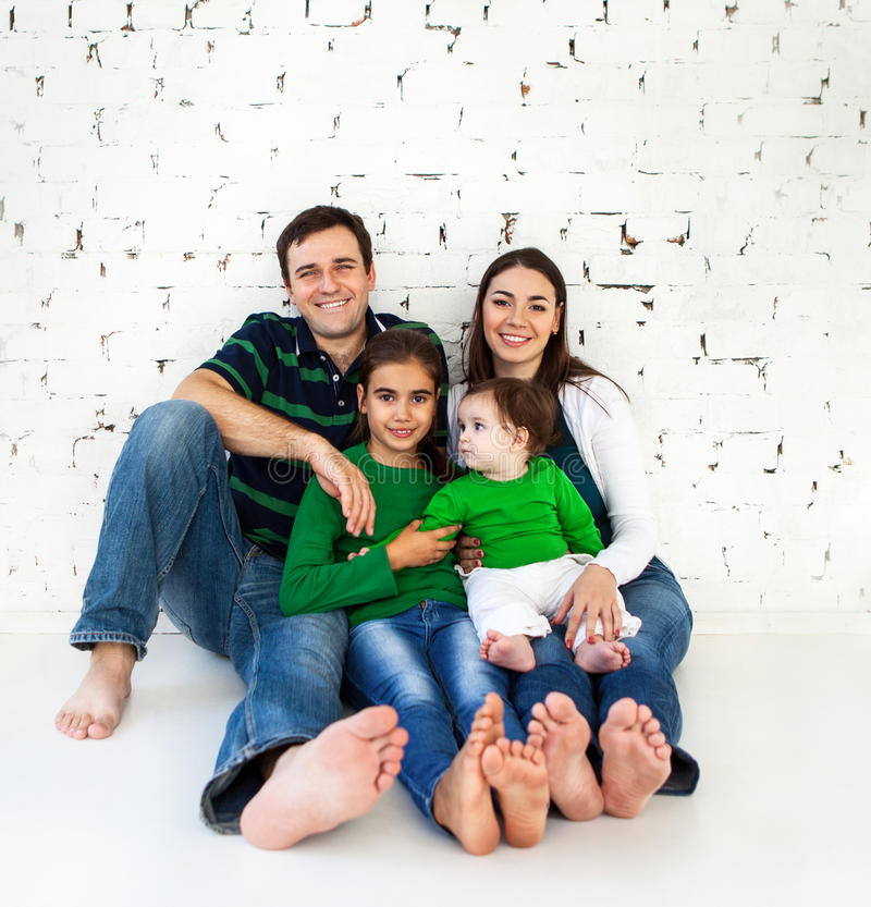 Portrait of a happy smiling family stock images