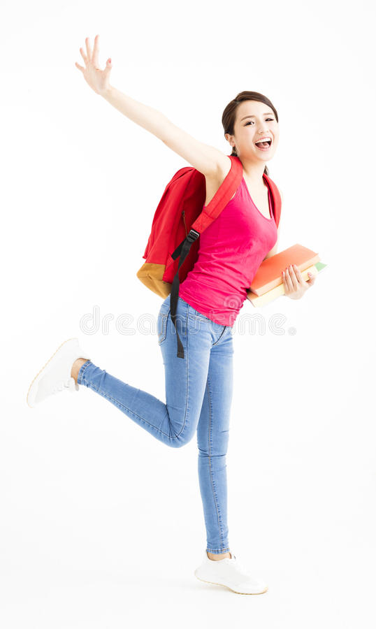 Portrait of happy smiling female student  stock images