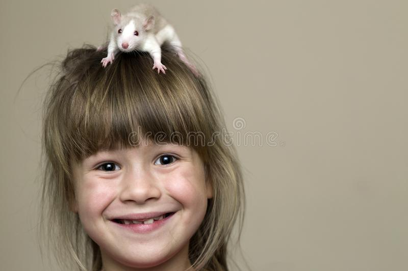 Portrait of happy smiling funny cute child girl with white pet mouse hamster on head on light wall copy space background. Keeping stock images