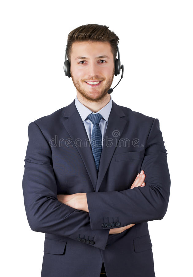 Portrait of happy smiling male customer support phone operator on white background isolated stock images