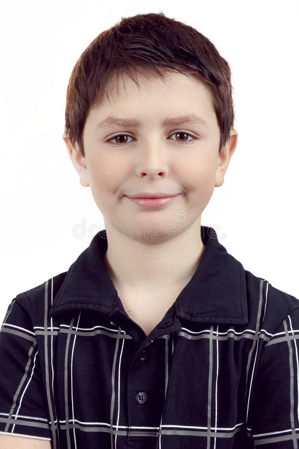 Portrait of a happy smiling young boy stock photo