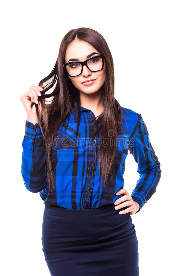 Portrait of happy smiling young business woman in glasses, isolated over white background royalty free stock photo