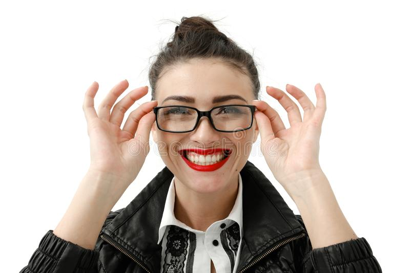 Portrait of happy smiling young cheerful businesswoman in glasses, isolated over white background royalty free stock images