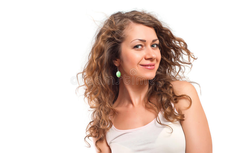 Portrait of happy smiling young woman stock image