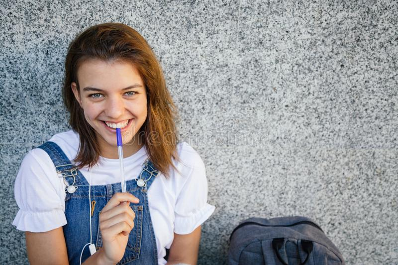 Portrait of a happy student girl royalty free stock photo