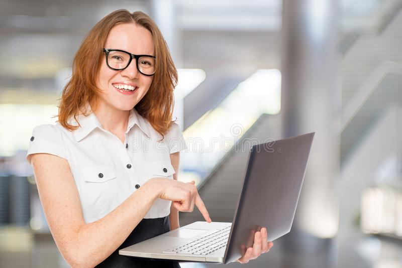 Portrait of a happy and successful businesswoman stock photo