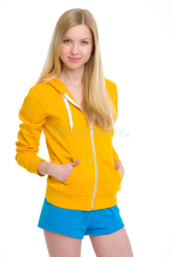 Portrait of happy teenager girl. Isolated on white stock photo