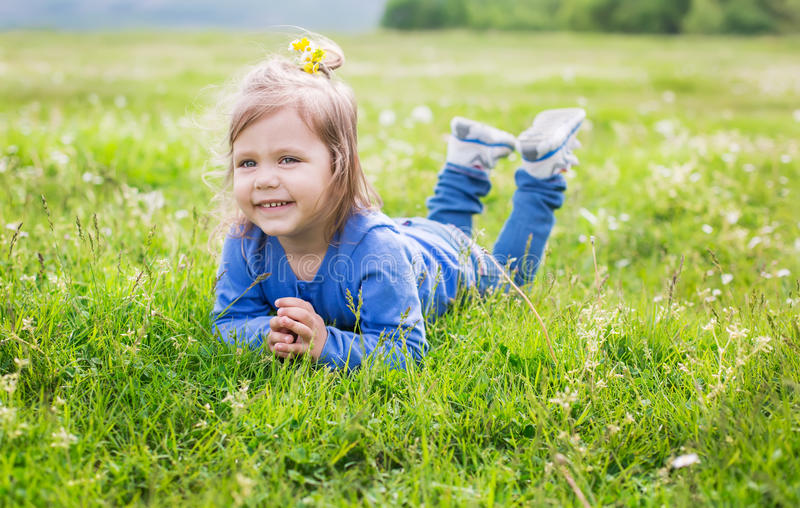 Portrait of a happy toddler girl royalty free stock image