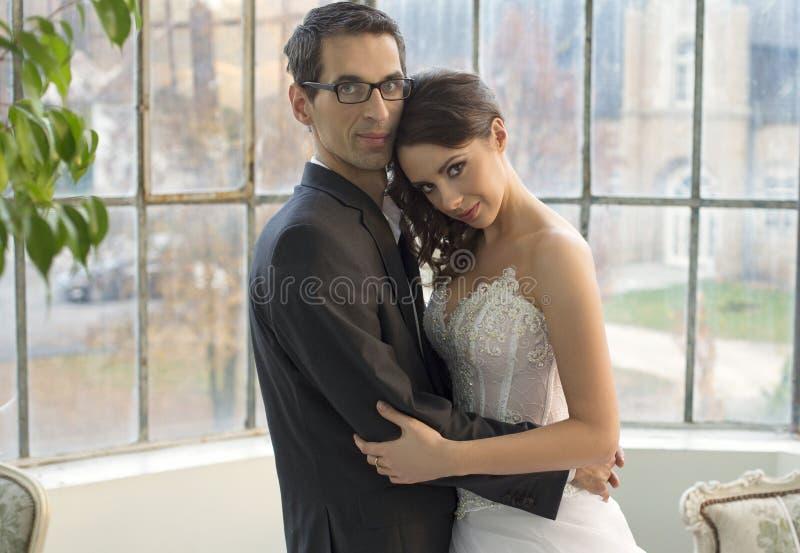 Portrait of happy wedding couple royalty free stock photo