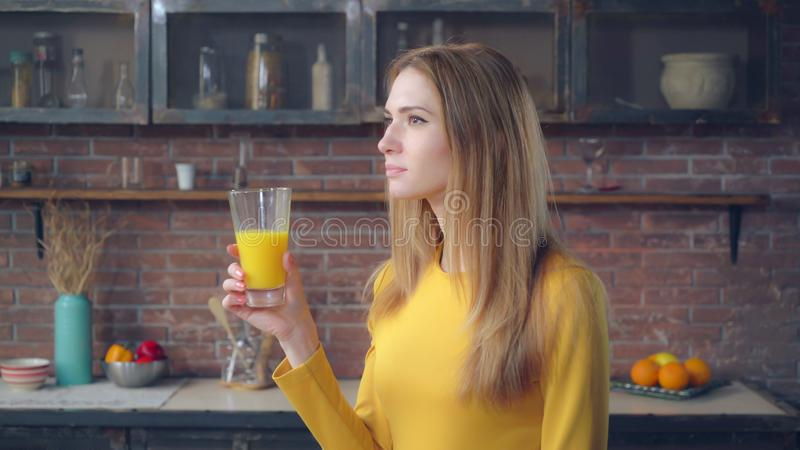 Lady enjoy drink in flat. royalty free stock images