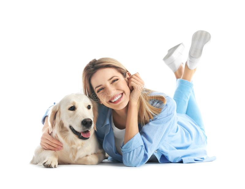 Portrait of happy woman with her dog royalty free stock image