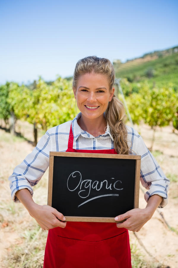 Portrait of happy woman holding slate with text in vineyard stock photo
