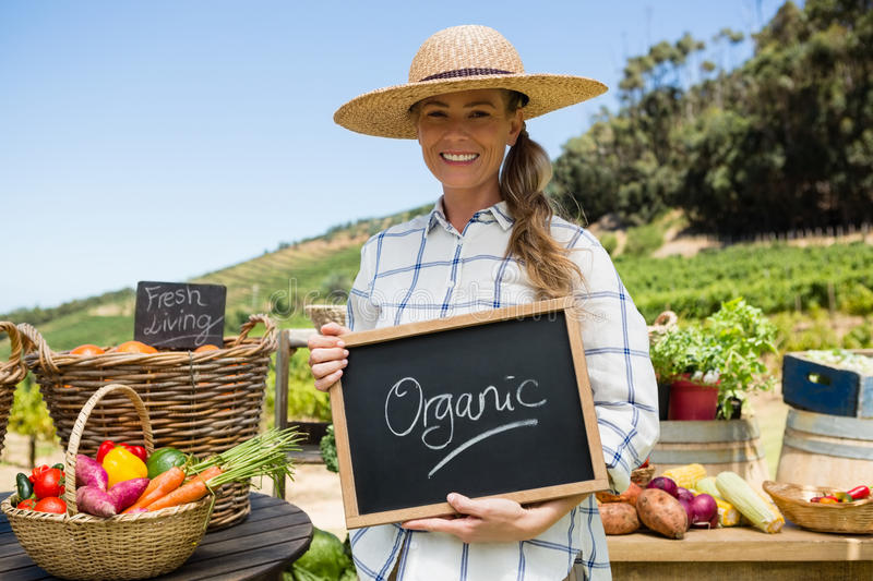 Portrait of happy woman holding slate with text in vineyard stock photography