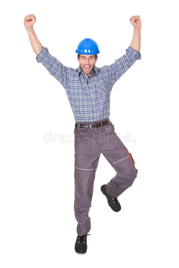 Portrait of happy worker. Isolated on white stock photos