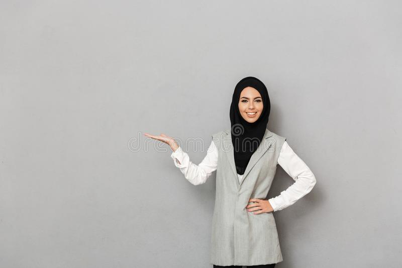 Portrait of a happy young arabian woman royalty free stock photography