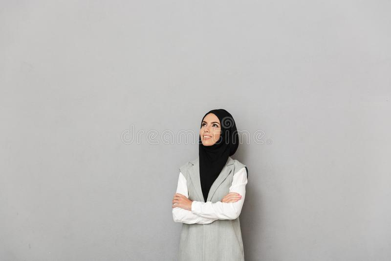 Portrait of a happy young arabian woman stock photos