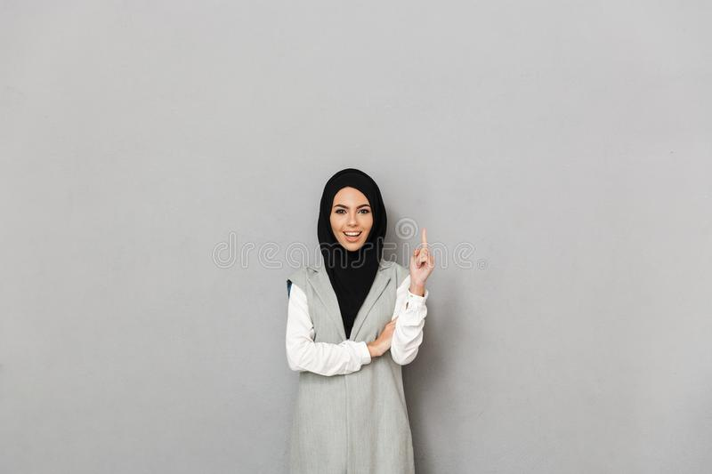 Portrait of a happy young arabian woman stock photography