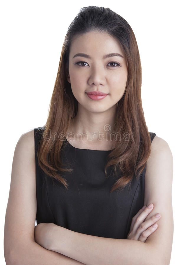 Portrait of happy young business woman isolated royalty free stock photos