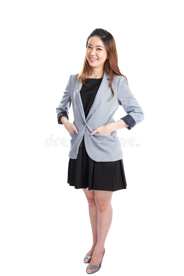 Portrait of happy young business woman isolated stock images