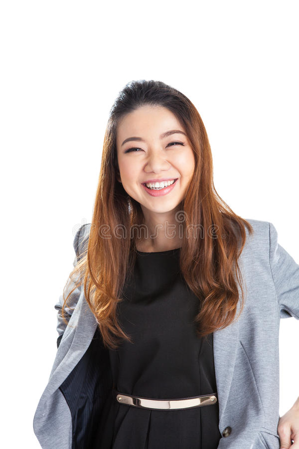Portrait of happy young business woman isolated royalty free stock images