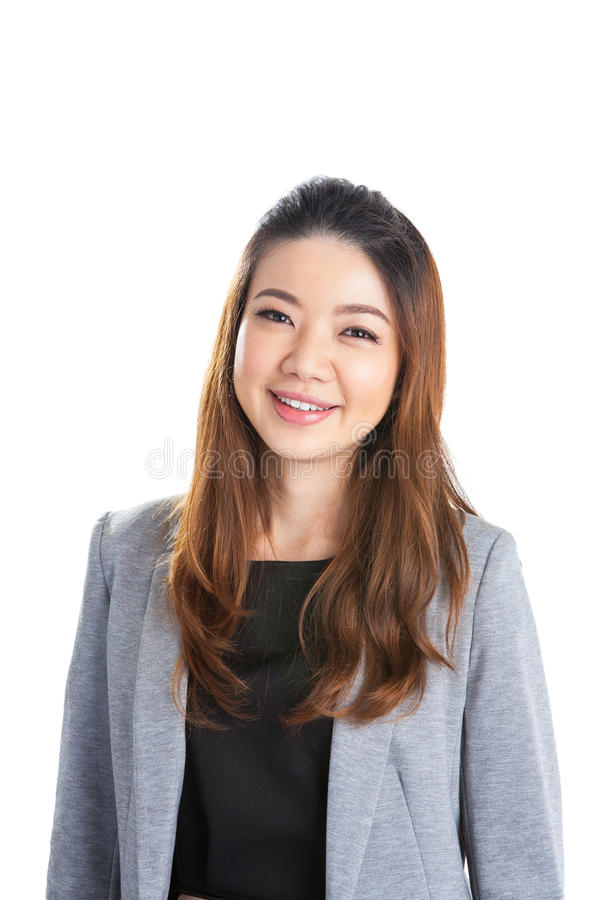 Portrait of happy young business woman isolated stock photo