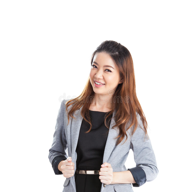 Portrait of happy young business woman isolated stock photos