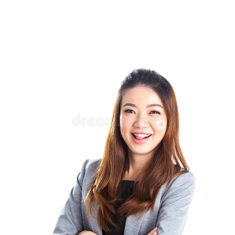 Portrait of happy young business woman isolated royalty free stock image
