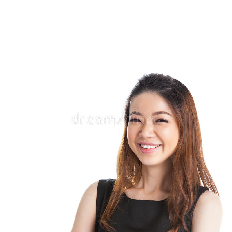 Portrait of happy young business woman isolated royalty free stock photo