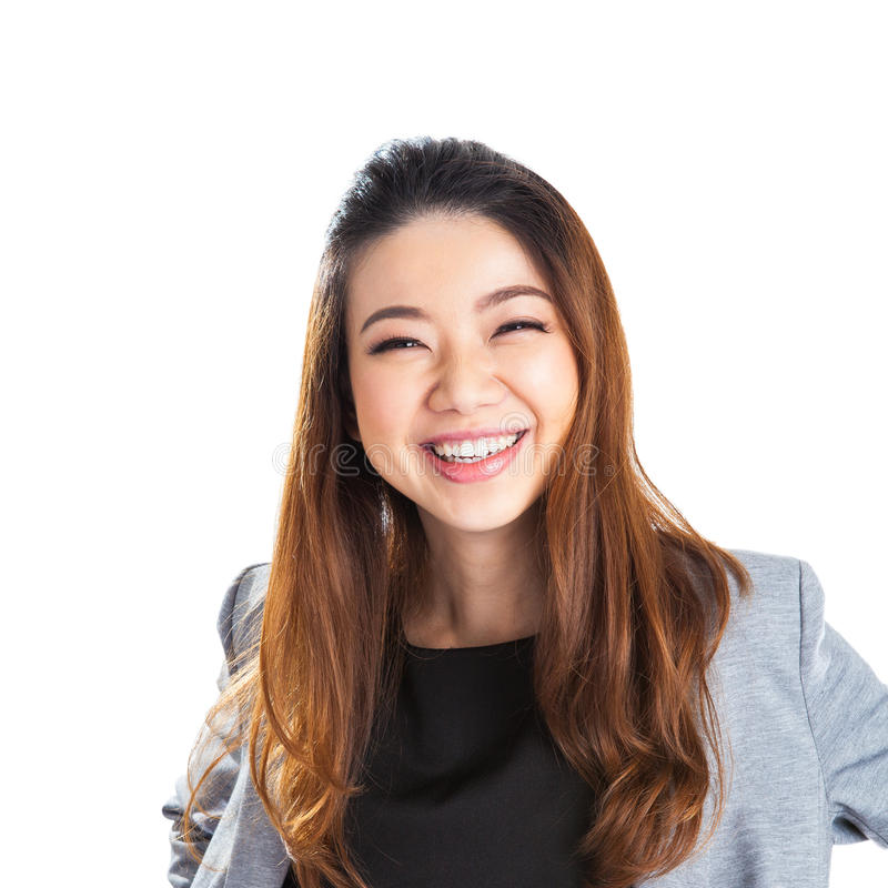 Portrait of happy young business woman isolated royalty free stock photography
