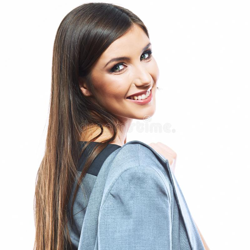 Portrait of happy young business woman white background isolate royalty free stock photography