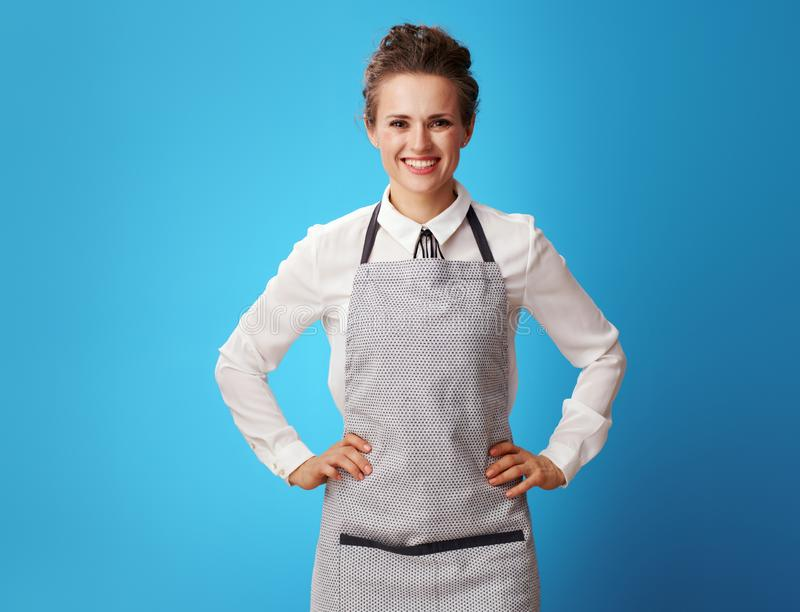 Portrait of happy young cleaning lady in apron on blue royalty free stock image