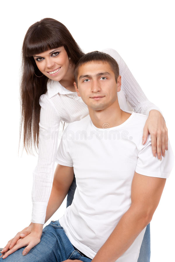 Portrait of happy young couple, hugging, smiling.? stock photo