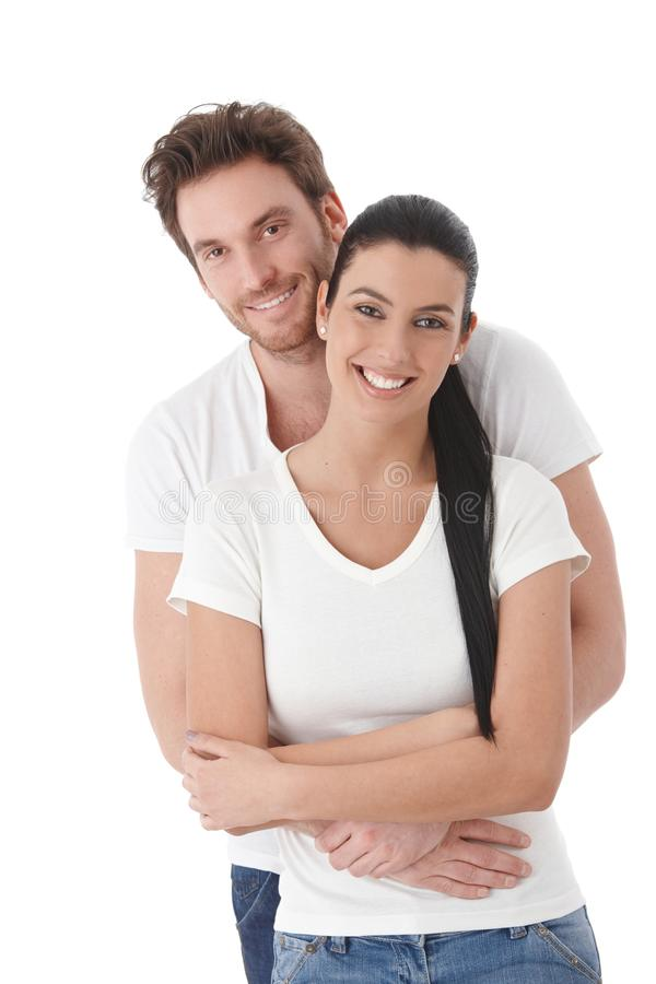 Portrait of happy young couple smiling royalty free stock photos