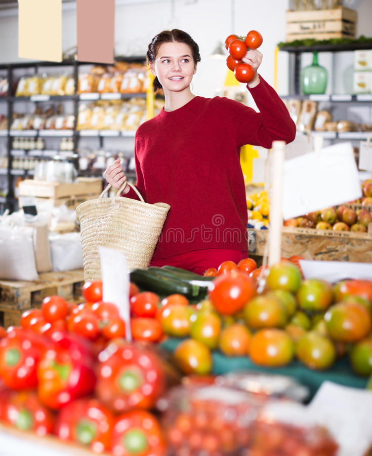 Portrait of happy young female customer selecting tomatoes in gr royalty free stock image