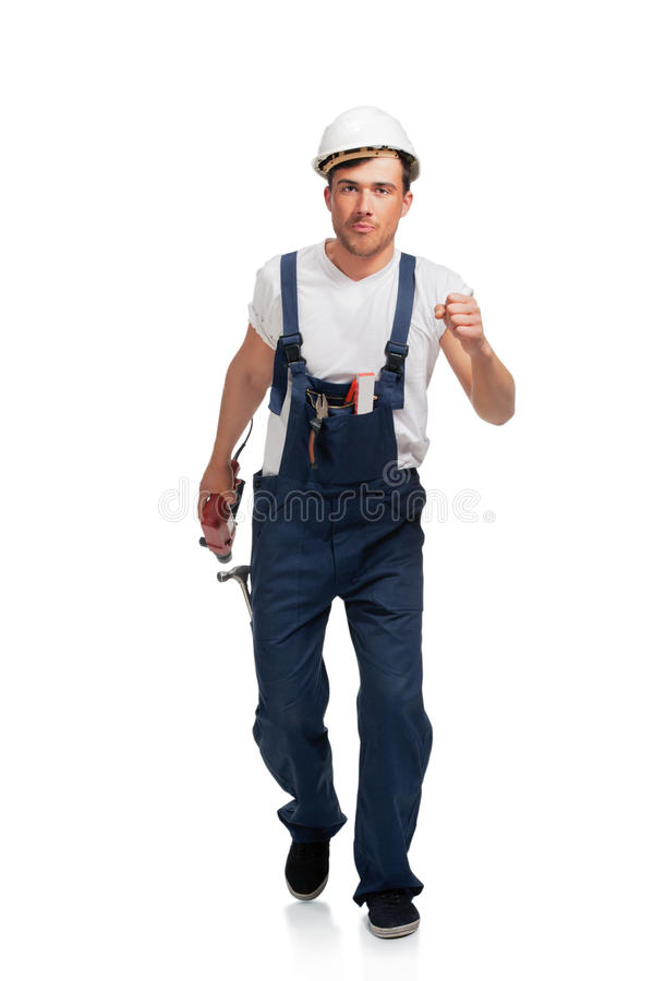 Download Portrait Of Happy Young Handyman With Tool Stock Photo - Image: 25846102