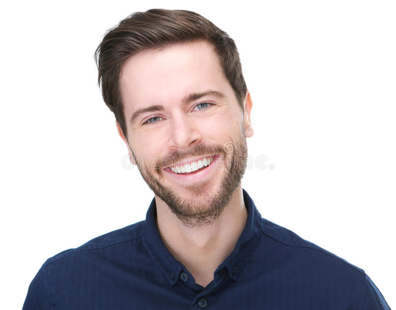 Portrait of a happy young male model smiling royalty free stock photography