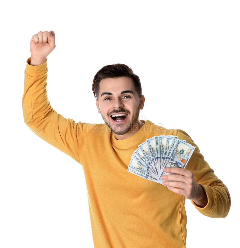 Portrait of happy young man with money stock photo