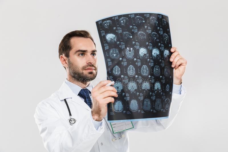 Portrait of happy young medical doctor working in hospital and holding X-ray scan royalty free stock photo