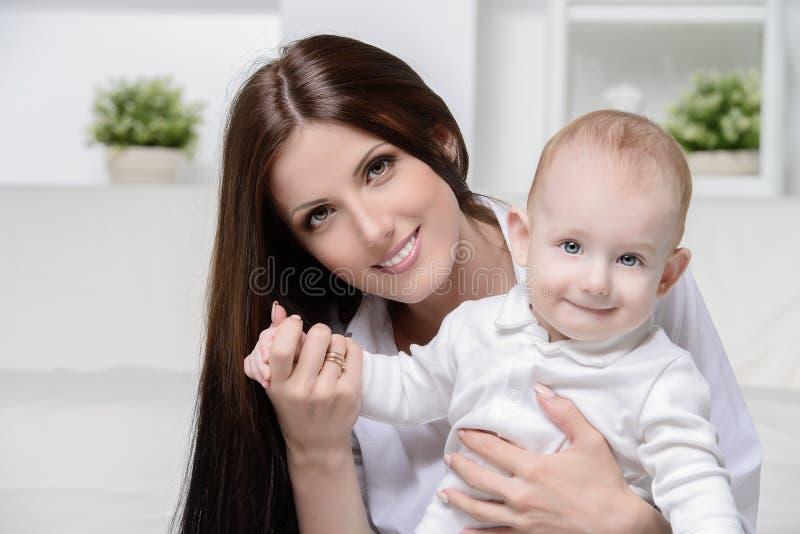 Happy mom and son royalty free stock photos