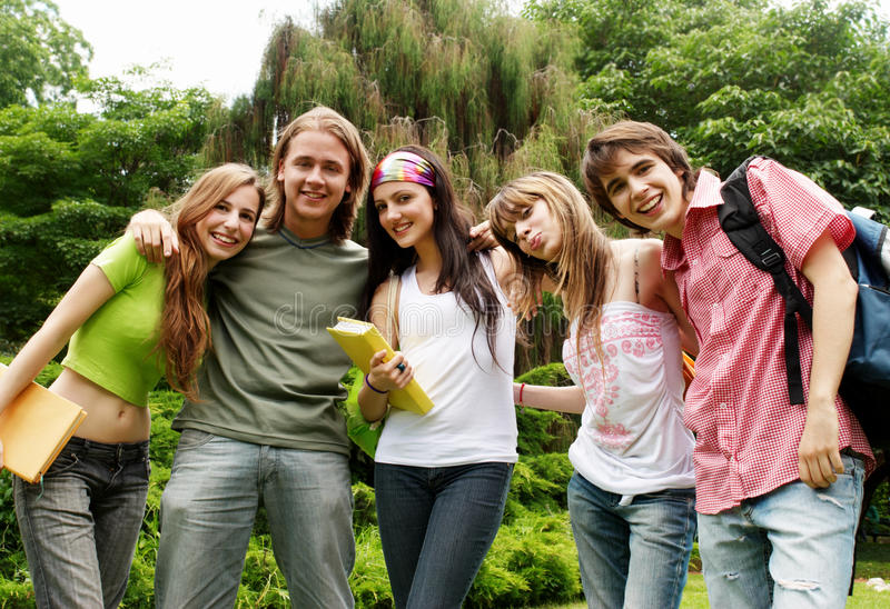 Portrait happy young students stock images