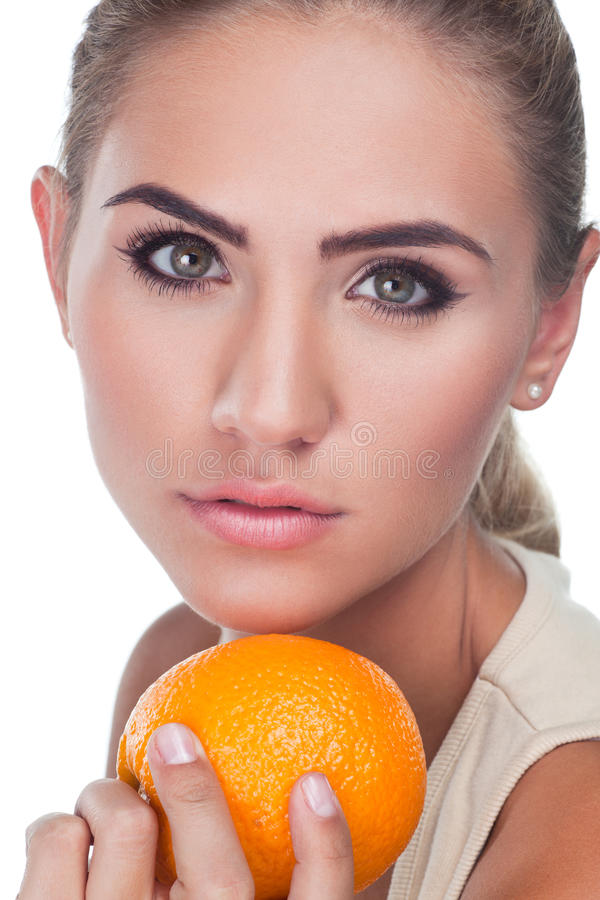 Portrait Of Happy Young Woman With Juice Royalty Free Stock Image