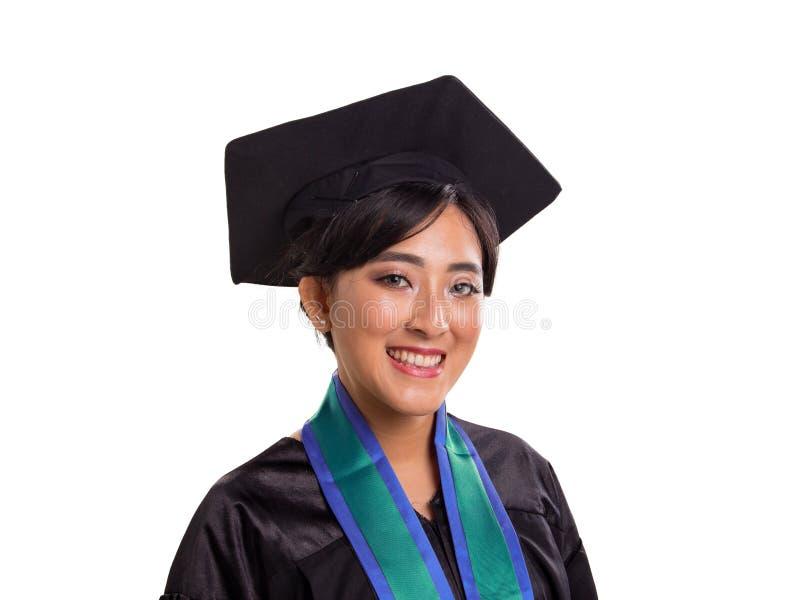Portrait haut étroit de profil d'étudiante de graduation d'isolement photos stock