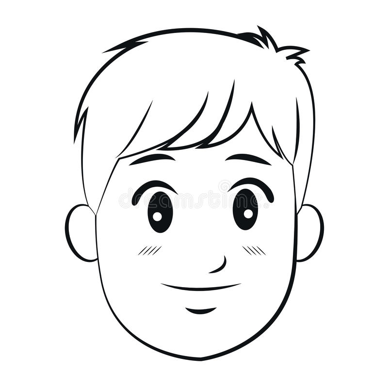 Portrait head man young smile outline. Portrait head man young smiling outline vector illustration eps 10 vector illustration