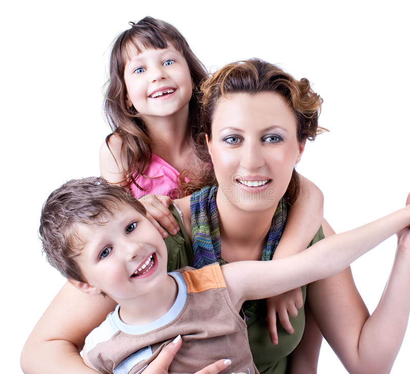 portrait of a healthy, attractive happy family stock photos