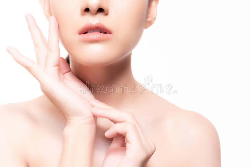 Portrait healthy skin face woman. Attractive beautiful asian woman has nice skin face with clean perfect skin. Charming beautiful royalty free stock images
