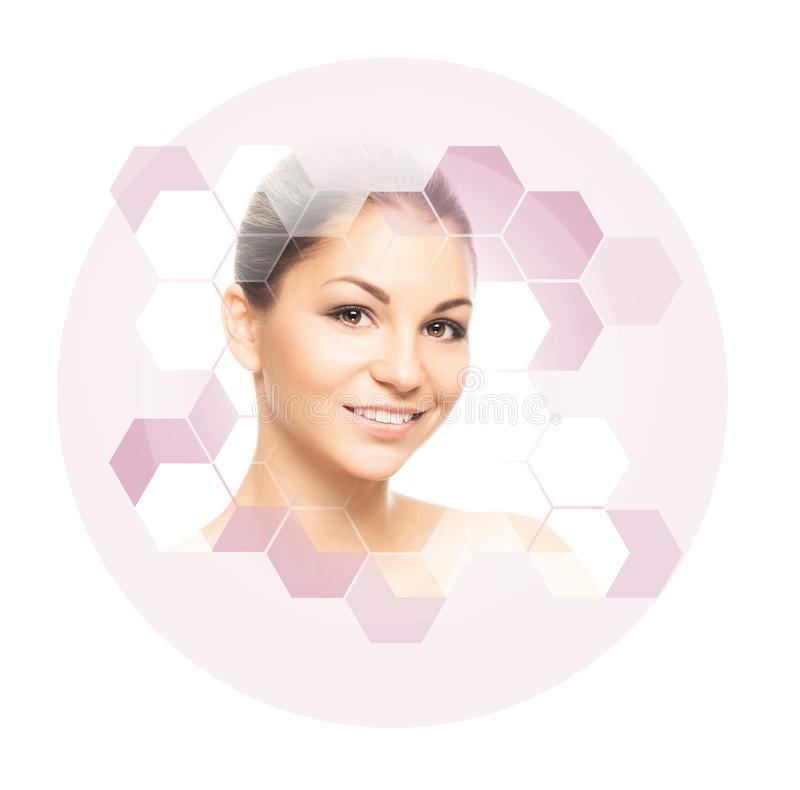 Portrait of healthy, young and beautiful woman. Plastic surgery, skin lifting, spa, cosmetics and medicine concept. Portrait of young, healthy and beautiful stock photos