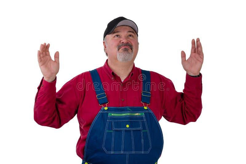 Portrait of helpless gardener wearing dungarees stock image