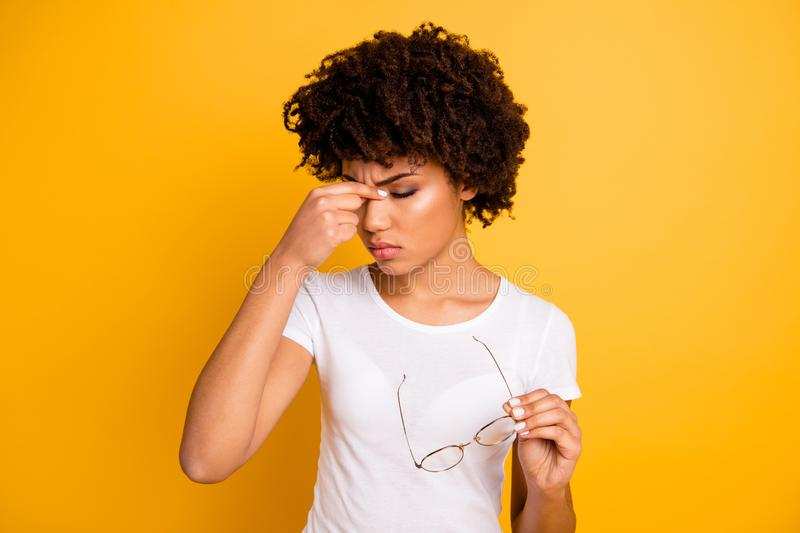 Portrait of her she nice attractive beautiful sad frustrated depressed tired wavy-haired lady touching nose having royalty free stock photos
